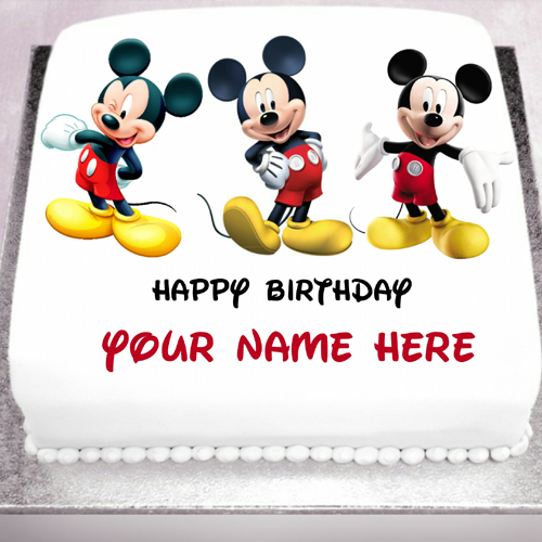 Smiling and Happy Mickey Mouse Birthday Cake With Name