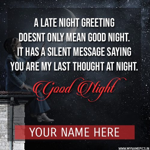Good Night Picture Message For Whatsapp With Your Name