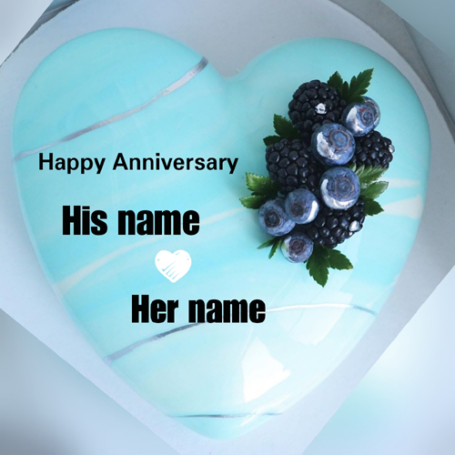 Happy Anniversary Wishes Heart Cake With Couple Name