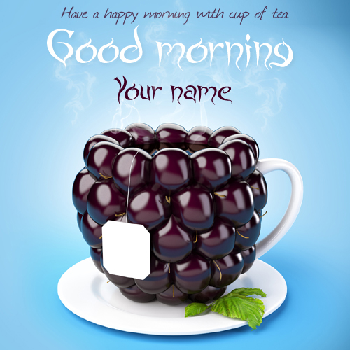 Good morning cup of tea greeting wish card