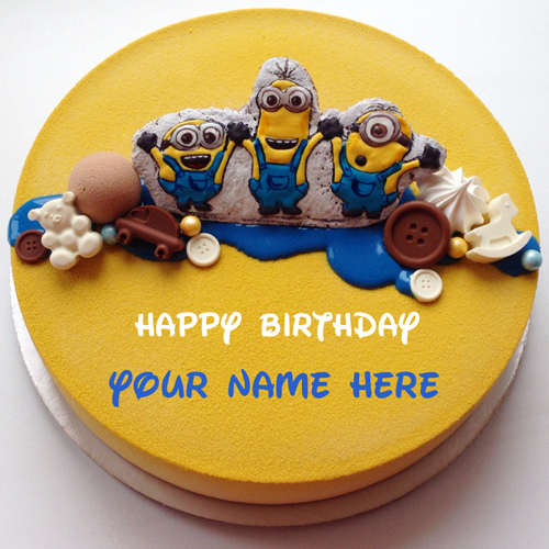 Cute Minion Birthday Wishes Kids Cake With Your Name