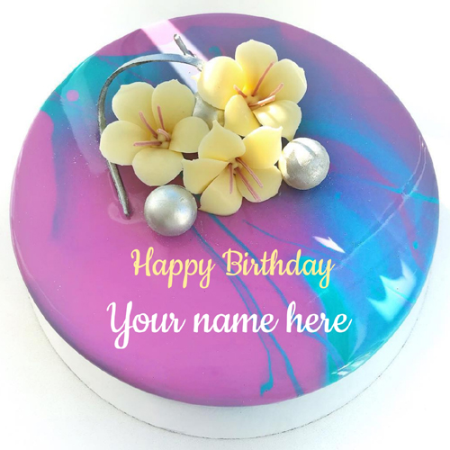 Write Name on Colorful Floral Art Mirror Glazed Cake