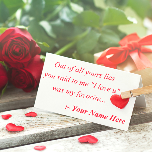 Write Name on Romantic Love Note With Rose Background