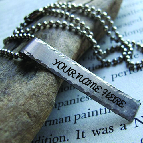 Mens Necklace With Rectangle Hand Stamped Name Pendant