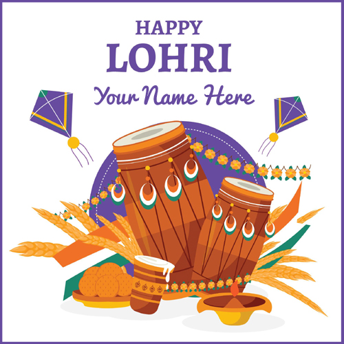 Happy Lohri 2021 Celebration Greeting Card With Name