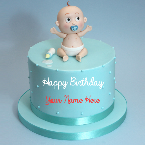 Cute Baby Boy First Birthday Cake With Name