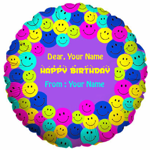 Smiley Face With Birthday Hat Cake Greeting With Name