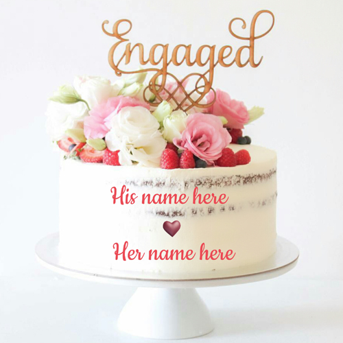 Happy Engagement Celebration Pink Rose Cake With Name