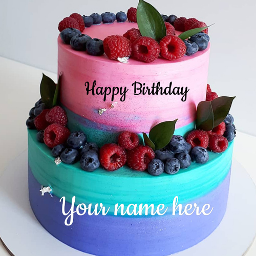 Write Name on Lovely Multicolor Fruits and Berries Cake