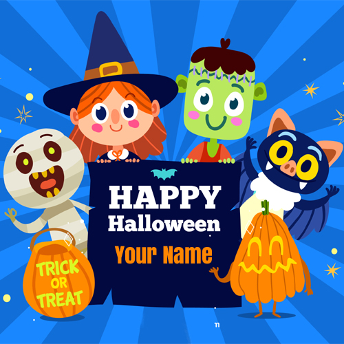 Happy Halloween Wishes Funny Greeting Card With Name