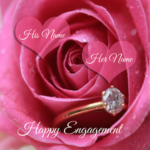 Write name on Happy Engagement wish profile pics