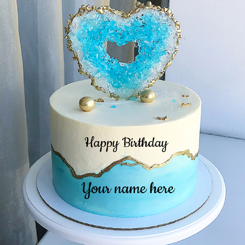 Beautiful Glitter Heart Birthday Wishes Cake With Name