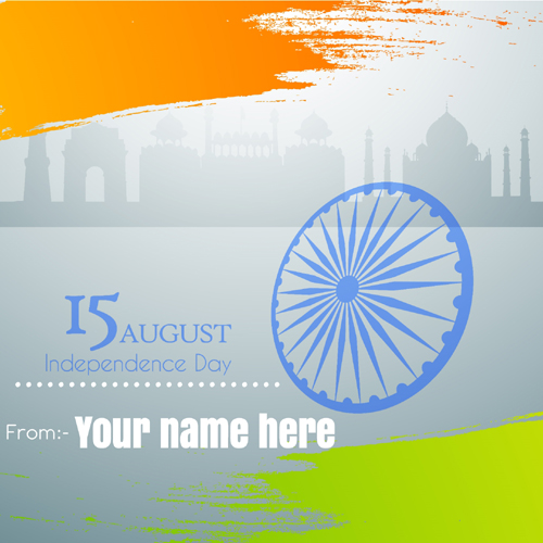 Write Name on 15th August Independence Day Greeting