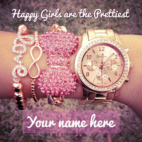 Happy Girls With Pretty Ornaments Greeting With Name