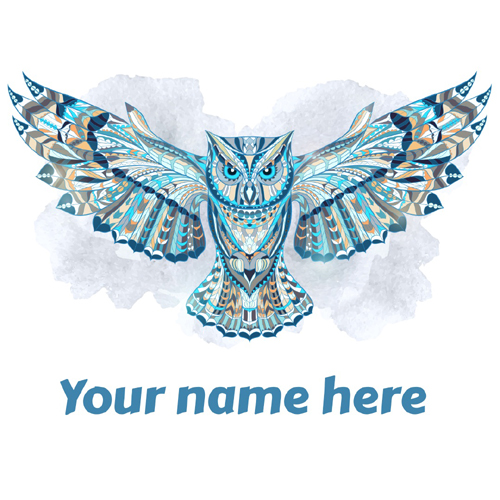 Write Name on Owl Tattoo Design For Whatsapp Status