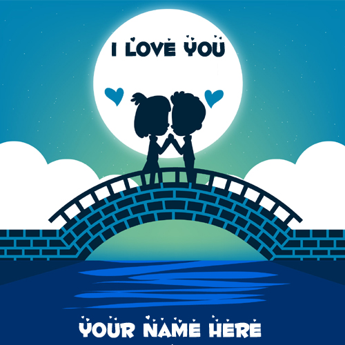 I Love You Cute Couple Greeting Card With Your Name