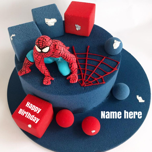 Spiderman Superhero Birthday Cake For Kids With Name