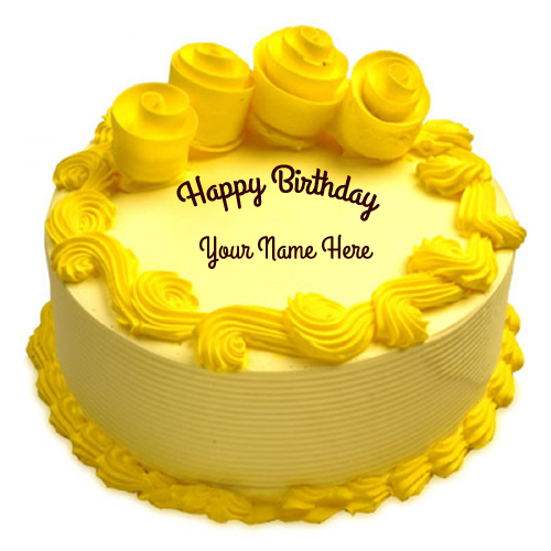 Beautiful Yellow Flower Birthday Cake With Your Name
