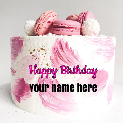Elegant White and Pink Donuts Birthday Cake With Name