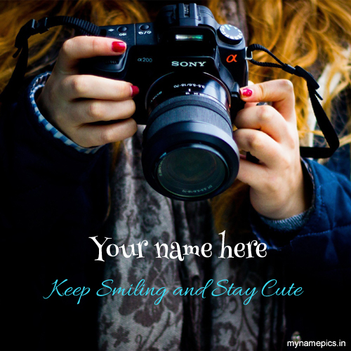 Write your name on cute girl picture with camera