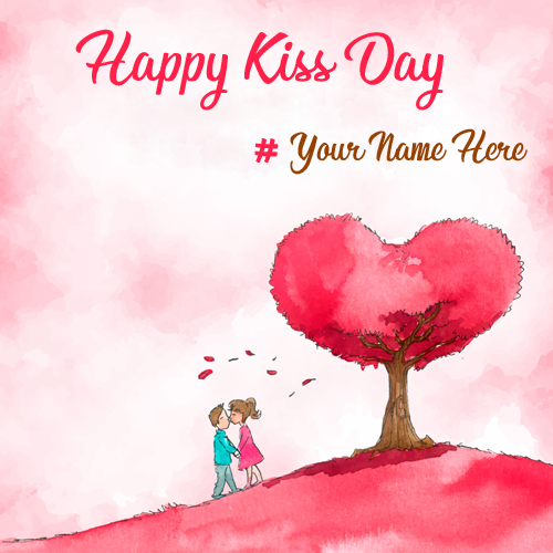 Romantic Couple Wishes Happy Kiss Day DP Pics With Name