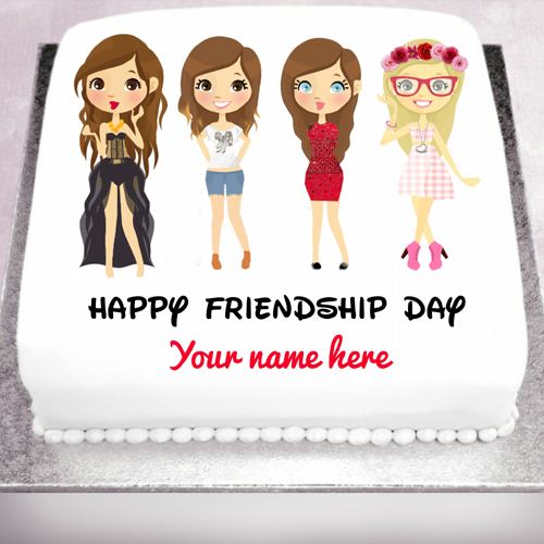 Cute friendship cake greeting card with your name