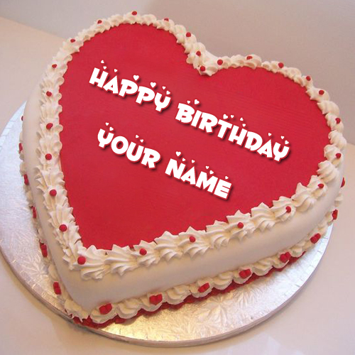 Happy Birthday Wishes Red Heart Shape Cake With Name