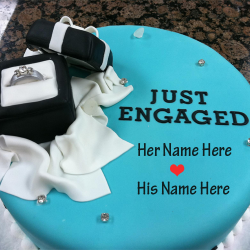 Happy Engagement Cake With Couple Ring and Your Name