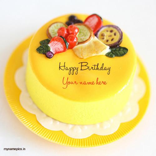 Cake With Fruit Names : Write name on fruit birthday cake pics
